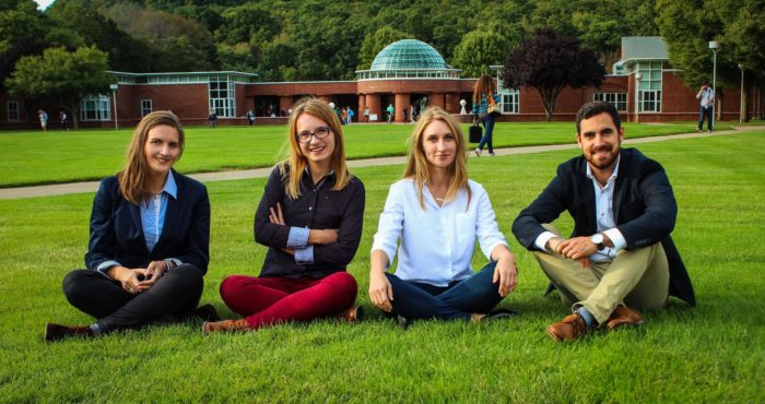 The Central European - American Business Leader Scholars from Poland and Hungary (from left: Csilla Abran, Katarzyna Tworowska, Katarzyna Bogumil, Laszlo Dinca) arrived in August 2016 at Quinnipiac.