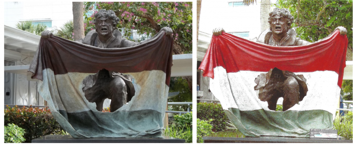 Freedom Fighter Statue Before and After Renovation