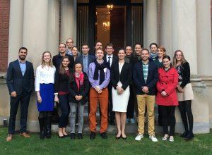 The inaugural class of YHLP 2017: Csilla Ábárn, Adorján Benkő, László Dinca, Vivienn Érsek, Györgyi Facskó, Csenge Gonda, Ádám Gyöngy, Márton György, Anikó Ivanics, Rita Jakab, Máté Mátyás, Gergő Mojzes, Krisztina Pethő, Viktor Pólya, Noémi Szabó, Gergely Szilvay, Mikolt Tózsa, and Eszter Völner with HIF Executive Director Anna Smith Lacey and Kirsi Jarvis of the Meridian Center